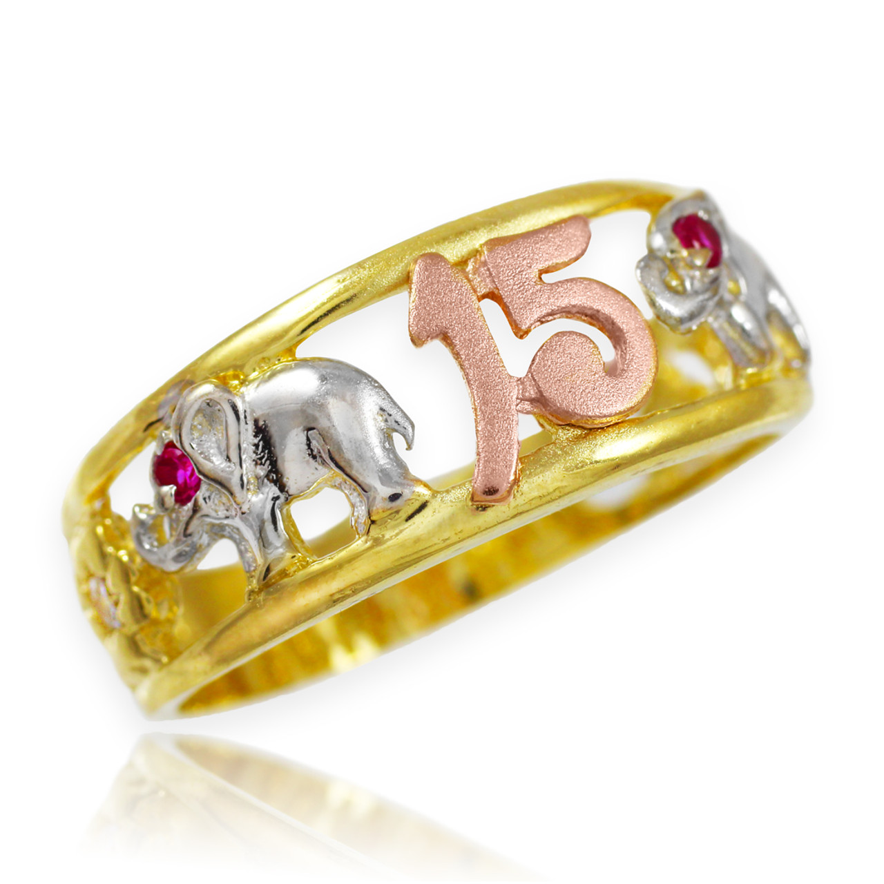 tri tone gold quot 15 anos quot quinceanera cz ring with elephants