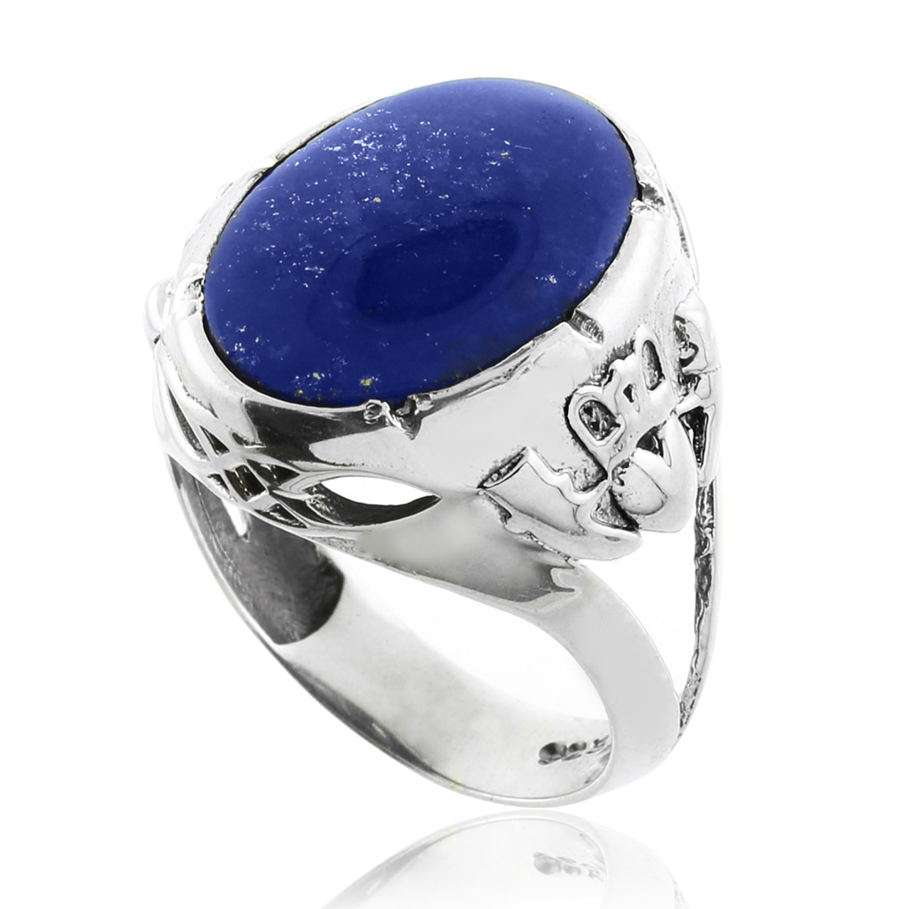 Blue Stone Claddagh Silver Ring Silver Rings For Men With Blue Stone