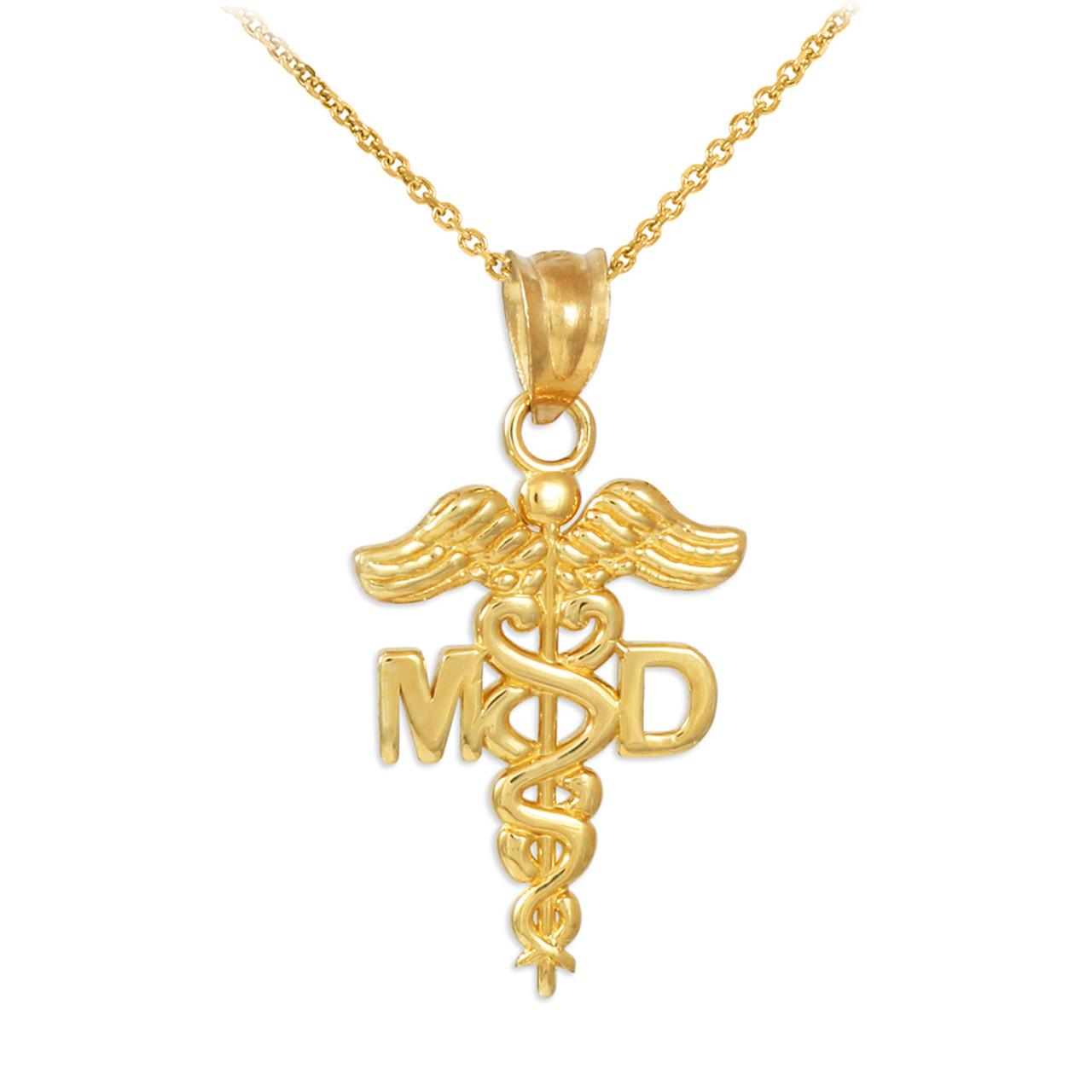 gold doctor md caduceus charm pendant