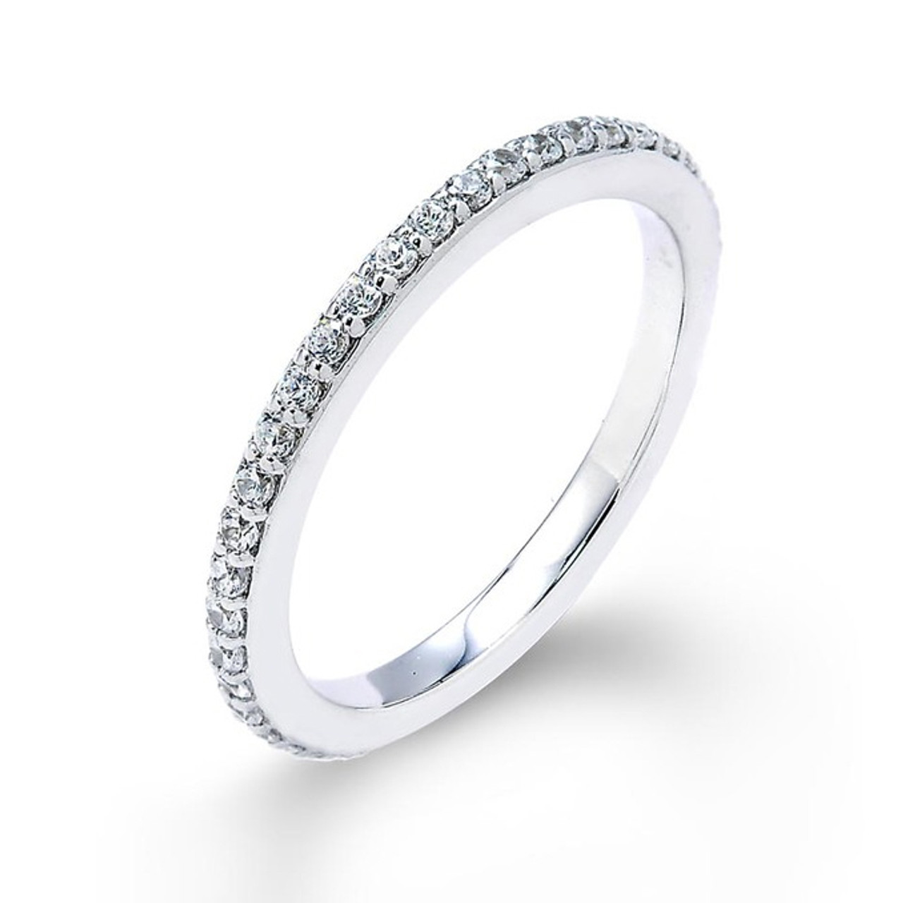 14k White Gold Thin Diamond Studded Eternity Wedding Band