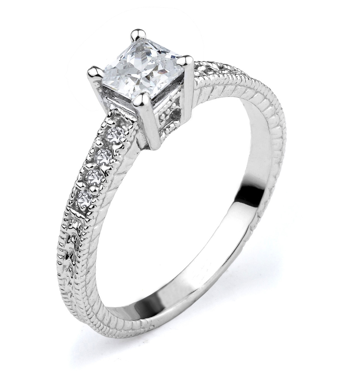 engagement ring cz engagement ring white gold cz