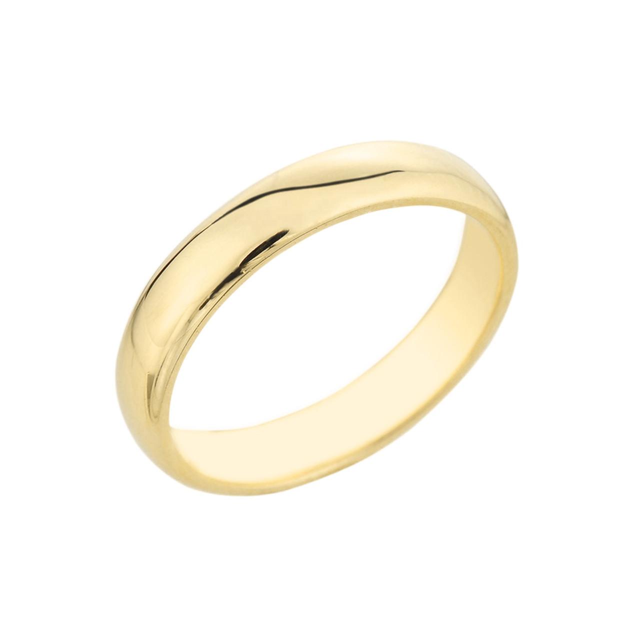 yellow gold classic wedding band 4mm