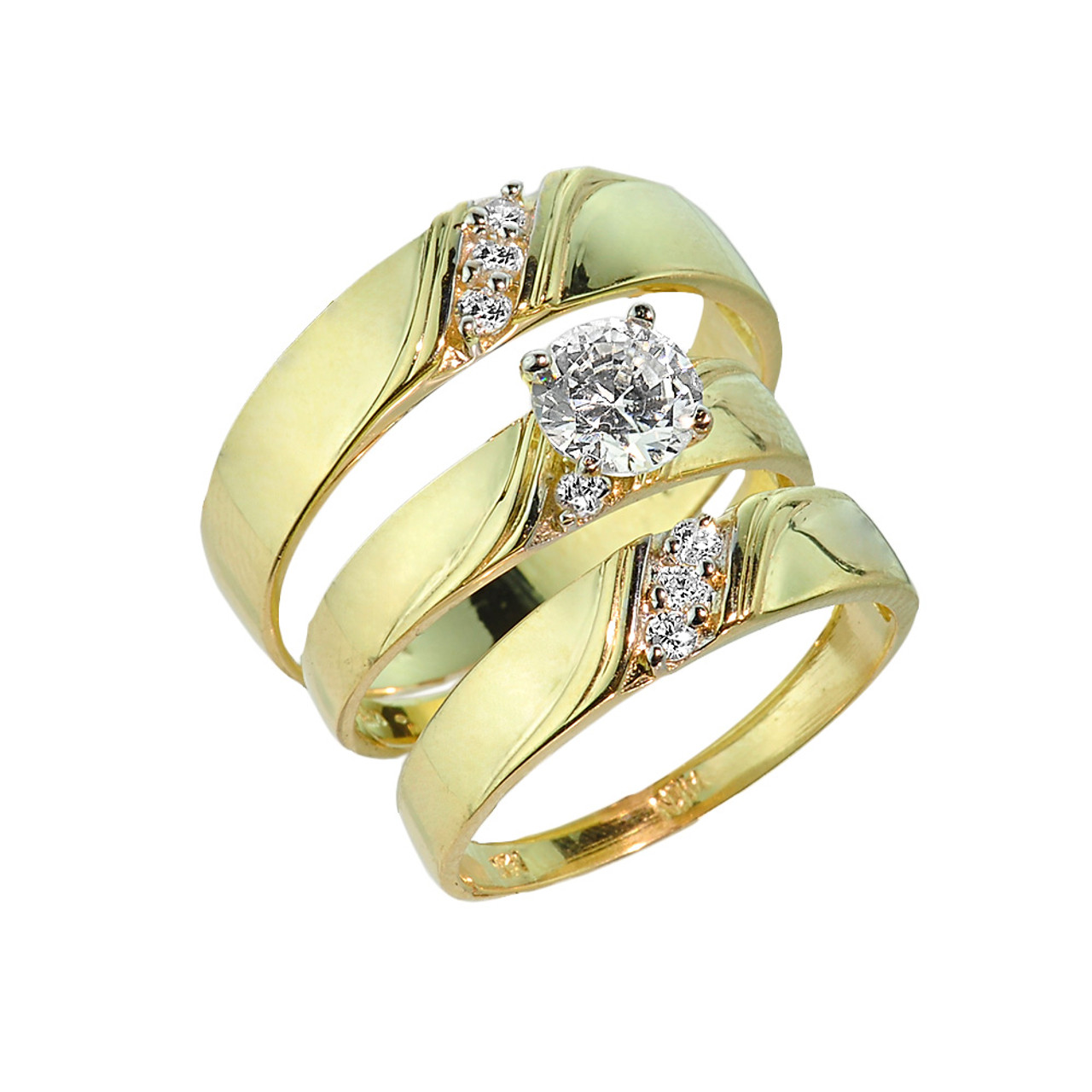 3 piece gold cz wedding ring set engagement ring With 3 piece wedding rings
