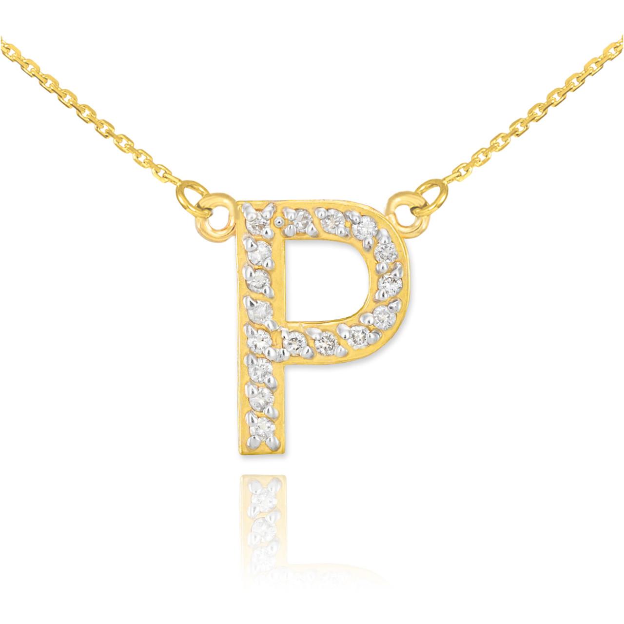 14k gold letter quotpquot diamond initial necklace for 14k gold letter necklace