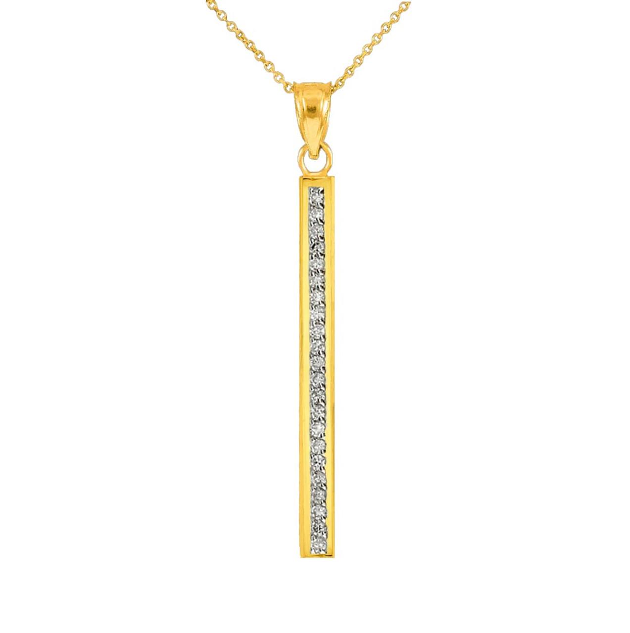 14k gold vertical bar necklace bar