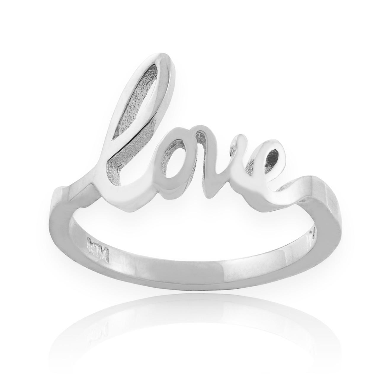 "Love Silvers: Sterling Silver ""Love"" Script Ring"