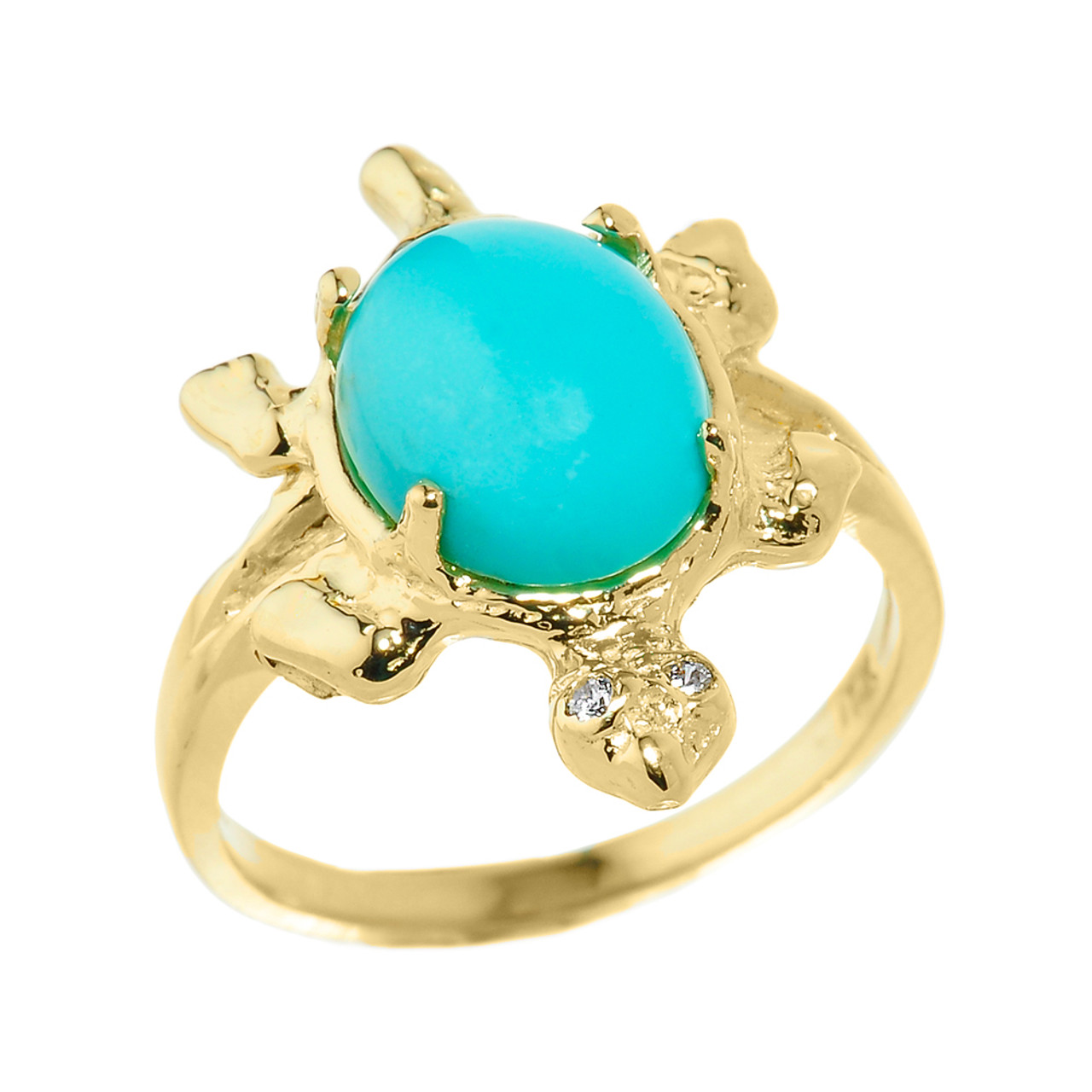 yellow gold and turquoise gemstone turtle ring