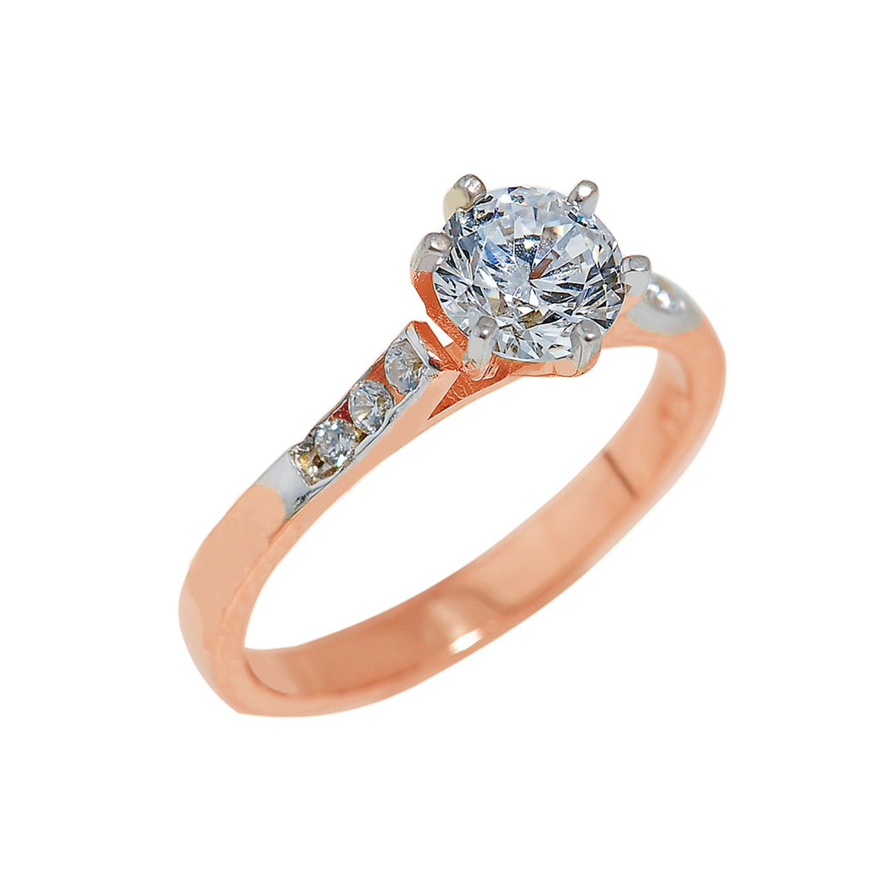 gold engagement ring with cubic zirconia engagement