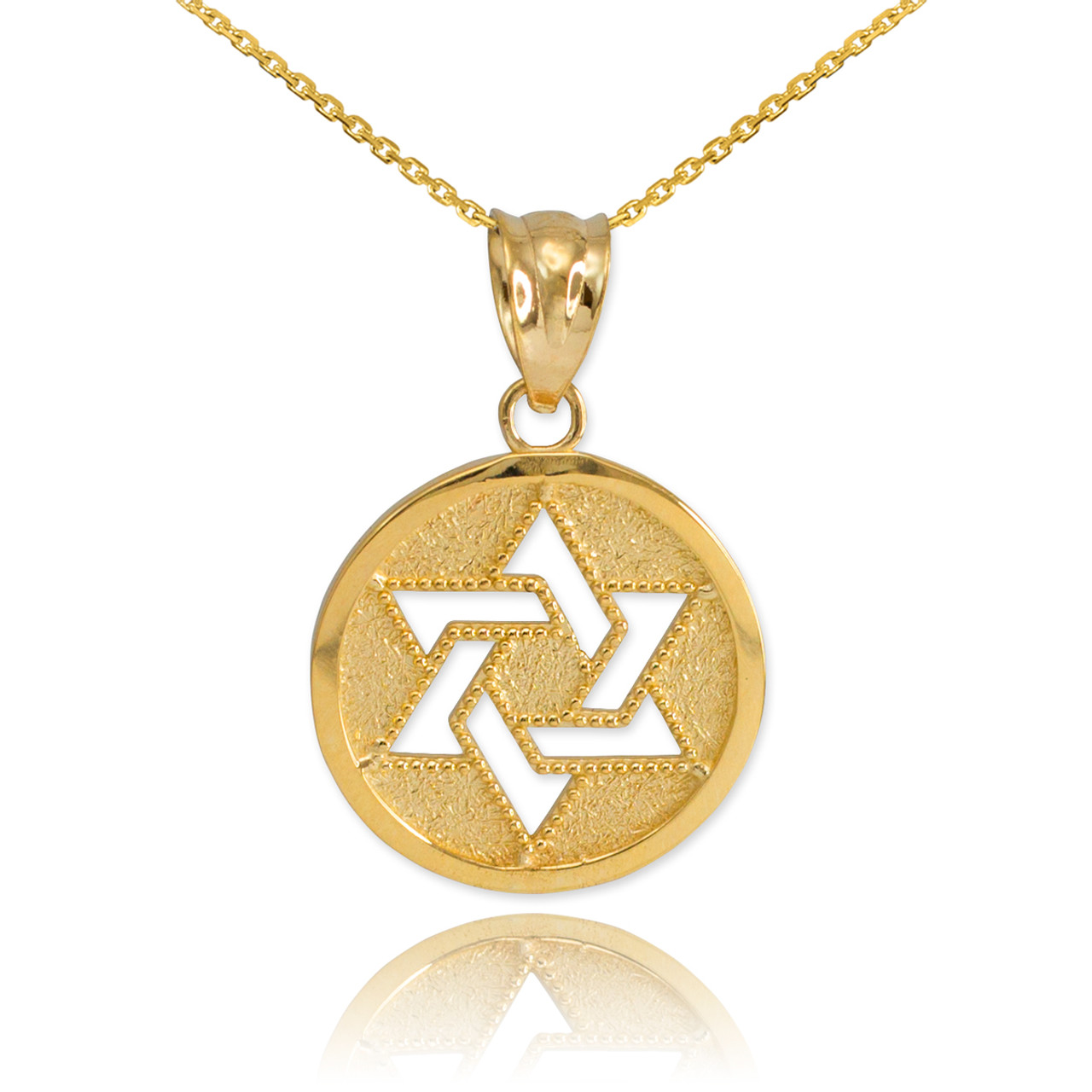 Gold cut out star of david pendant necklace for Star of david jewelry wholesale