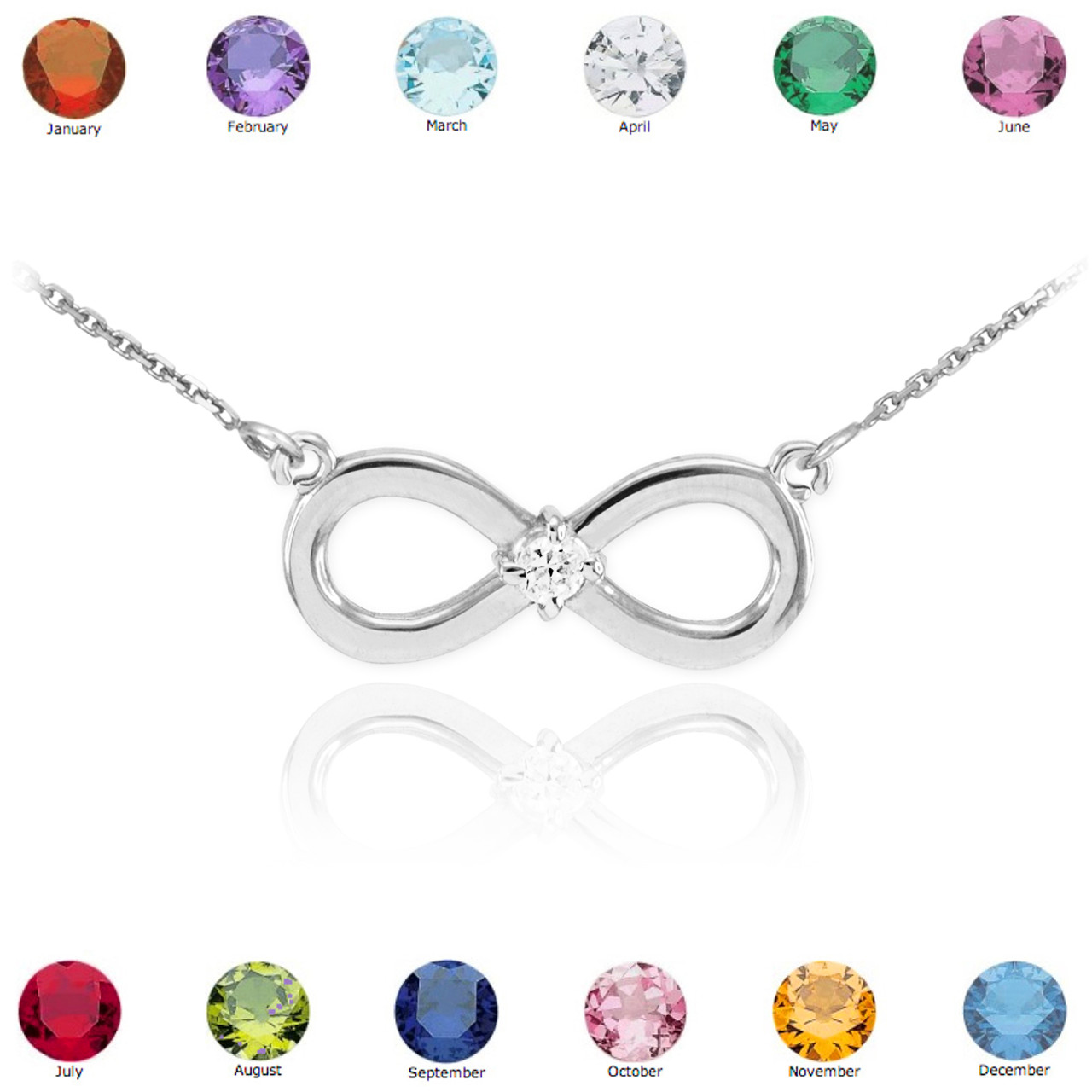 14k white gold infinity cz birthstone necklace infinity. Black Bedroom Furniture Sets. Home Design Ideas