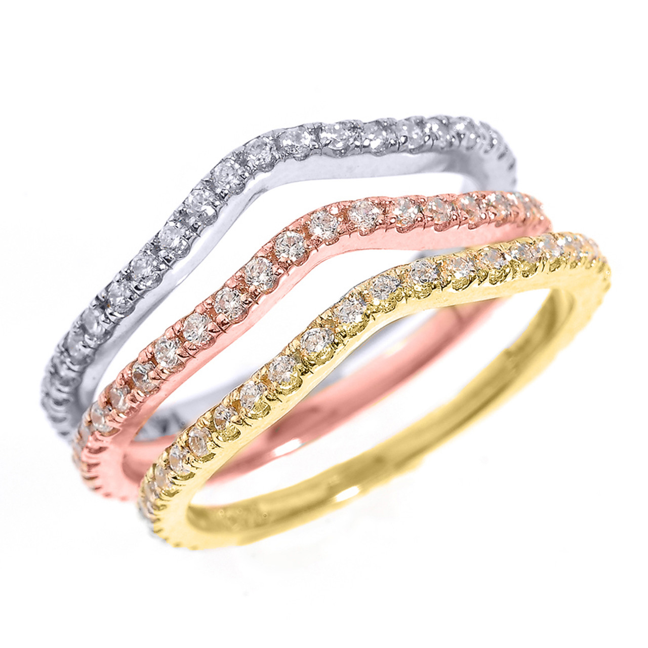 14k tri color gold chevron diamond stackable 3 piece wedding ring set - 3 Piece Wedding Rings