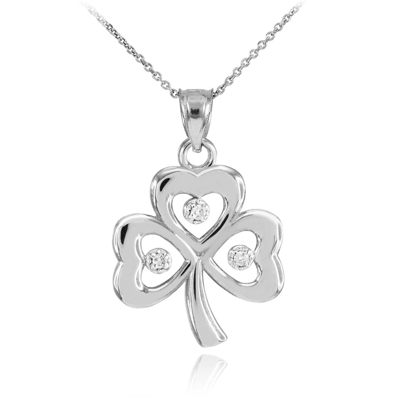 White Gold 3 Leaf Diamond Clover Pendant Necklace