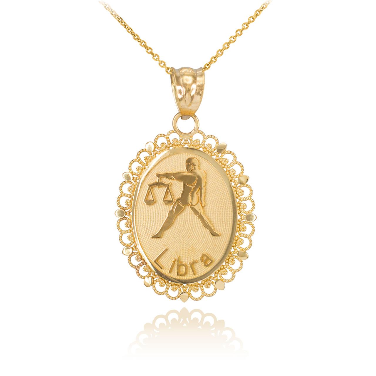 Gold Libra Zodiac Sign Filigree Oval Pendant Necklace
