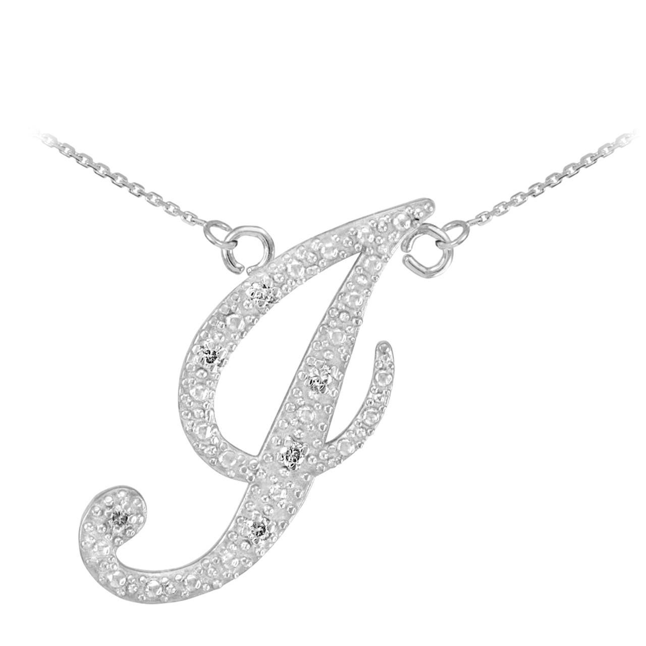 14k white gold letter script quotjquot diamond initial necklace for 14k gold letter necklace