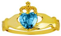 March birthstone aquamarine cz Claddagh ring in gold.