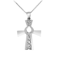 Irish Silver Cross with Claddagh Pendant Necklace