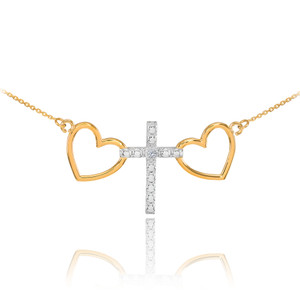 14 K Two Tone Gold Heart Cross Diamond Necklace