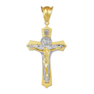 Two-Tone Gold Holy Trinity Crucifix Pendant Midsize