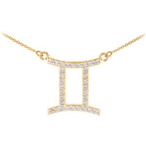 14K Gold Gemini Zodiac Sign Diamond Necklace