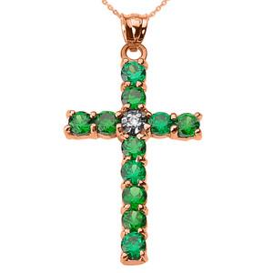 10k Rose Gold Diamond and Green CZ Cross Pendant Necklace
