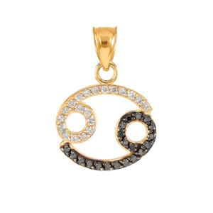 14K Gold Cancer Zodiac Sign Black Diamond Pendant Necklace