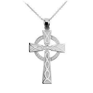 White Gold Celtic Cross Charm Necklace