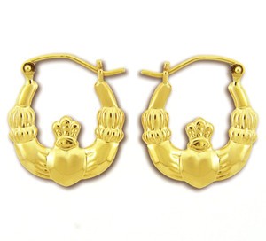 14KT Polished Gold Claddagh Earring
