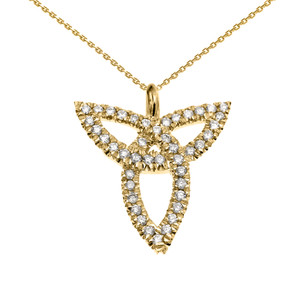 14K Yellow Gold Celtic Trinity Diamond Pendant Necklace