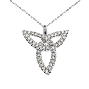 14K White Gold Celtic Trinity Diamond Pendant Necklace