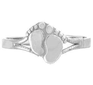 White Gold Footprint Toe Ring