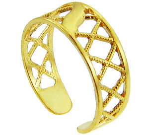 Yellow Gold Cross Hatch Toe Ring