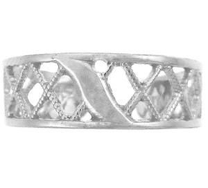 White Gold Cross Hatch Toe ring
