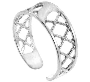 Silver Cross Hatch Toe Ring