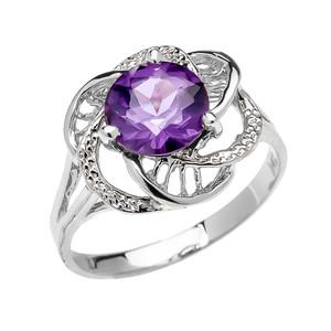 White Gold CZ Alexandrite Solitaire Modern Flower Ladies Ring