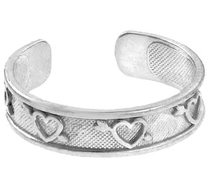 Silver Hearts with Arrows Toe Ring
