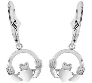 White Gold Claddagh Earring with Leverback