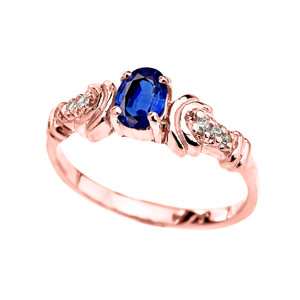 Rose Gold Diamond and Sapphire Oval Solitaire Proposal Ring