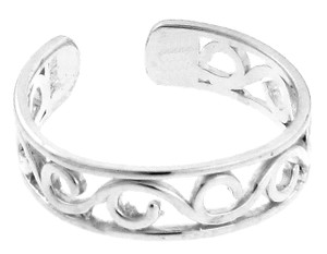 White Gold Wave Toe Ring
