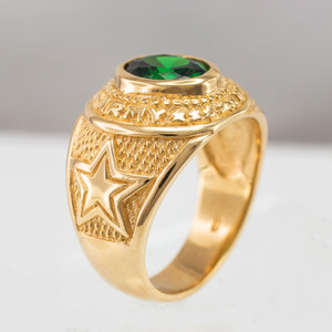 Solid Gold US Army Men's CZ Birthstone Ring