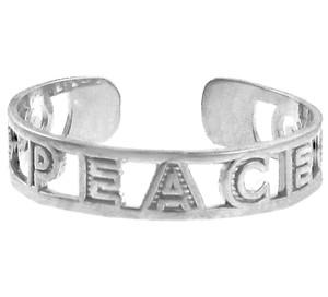 "Silver ""PEACE"" Toe ring"