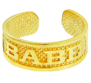"""Yellow Gold """"BABE"""" Toe Ring"""