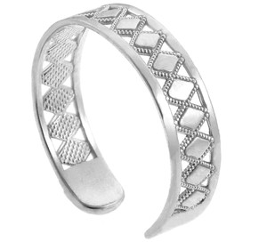 White Gold Puzzle Toe Ring