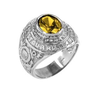 Sterling Silver US Coast Guard Men's CZ Birthstone Ring