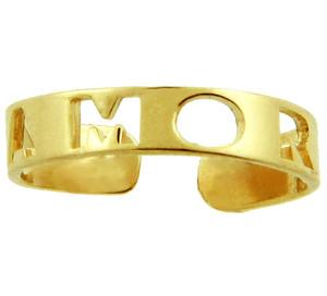 "Yellow Gold 'AMOR"" Toe Ring"