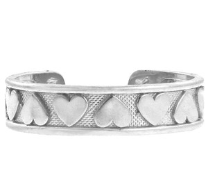 Hearts White Gold Toe Ring