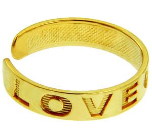 """LOVE"" Yellow Gold Toe Rings"