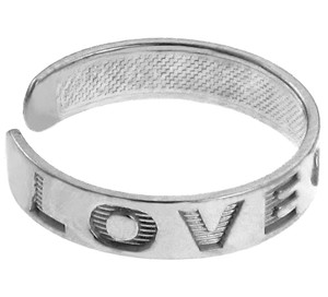 """LOVE"" White Gold Toe Ring"