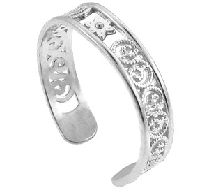 White Gold Floral Toe Ring
