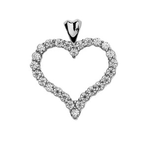 1.5 Carat Cubic Zirconia White Gold Heart Pendant Necklace