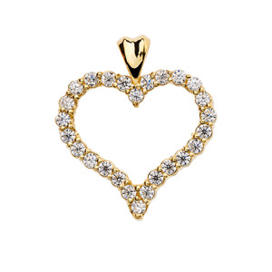 1.5 Carat Cubic Zirconia Yellow Gold Heart Pendant Necklace